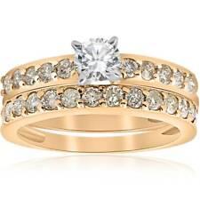 14k Yellow Gold 1 Carat Round Diamond Engagement Ring Matching Wedding Band Set
