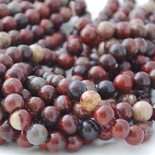 Natural Poppy Jasper Semi Precious Gemstone Round Beads - 4mm, 6mm, 8mm, 10mm