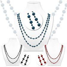 1 Halskette Damen Perlenkette Perlen Kette Collier Modeschmuck Schwarz Petrol