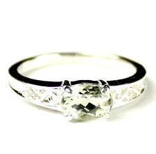 • SR362, 1 carat Green Amethyst, 925 Sterling Silver Ladies Ring -Handmade