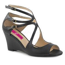 Sandali Donna Zeppa Scarpe Pelle Veg Nero Comodi Eleganti Tacco Alto  Kimberly-04 7956a5eed34