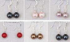 Women's Multicolor 8mm Natural South Sea Shell Pearl Earrings JE290