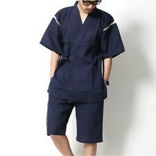 Japanese Mens Jinbei Kimono Short Sleeve Half Pants Sleepwear Loungewear Set
