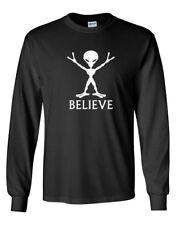 Men Believe Shirt Alien UFO Tee Sci-Fi Space Galaxy Planets T-Shirt World Peace