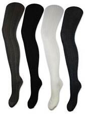 Damen Strumpfhose Baumwolle Strickstrumpfhose Schwarz Weiß Anthrazit Grau