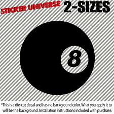 8-Ball Black Eight Ball Car Window Decal Bumper Sticker Pool Billards JDM 0576