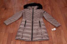 NWT Michael Kors Womens Hood Faux Fur Trim Chevron Down Coat Jacket Truffle XS S