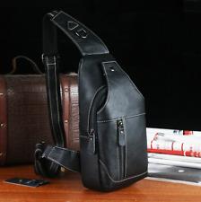 Genuine Leather Mens Shoulder Bag Chest Pack Outdoor Crossbody Sport School Bag