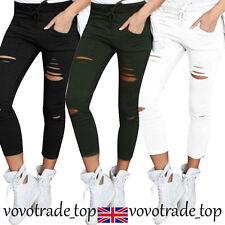 UK Women Ladies High Waist Stretchy Pencil Trousers Skinny Leggings Ripped Pants