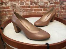 38c34c1345e9 H by Halston Camel Leather Lenna Block Heel Round Toe Pumps NEW