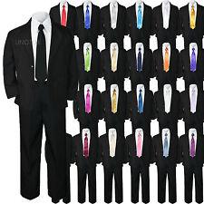 5pc Baby Kid Teen Boy Wedding Formal Black Tuxedo Suit Extra Color Tie sz 8-20