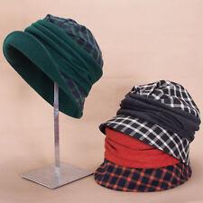 Women 1920s Flapper Retro Style Tartan Plaid Wool Blend Cloche Bucket Hat A501