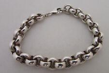 Heavy Sterling Silver Bracelet 10mm Rolo Chain Hipster Men Trendy Women 925clasp