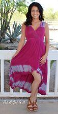 BE VOCAL CRYSTAL MAGENTA PINK TIE DYE BOHO SALSA WRAP MAXI DRESS USA S M L XL