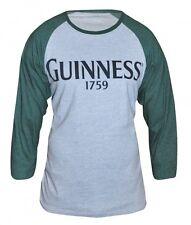 Guinness Baseball Long Sleeved Tee Mens Fit Irish Grey Green Heathered Shirt NEW