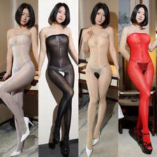 Women 8D Oil Shiny Glossy Pantyhose Body Stockings Tights Crotchless Bodysuit#V