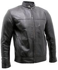 Men's Retro Black Nappa Leather Biker Jacket