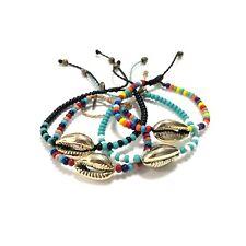 Shell Bead Bracelet Anklet Adjustable Handmade Rope Hawaiian Beach Jewelry