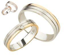 Trauringe 375 Gold Eheringe Diamant Brillant bicolor Weißgold Rotgold Paarpreis