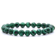 Men's Natural Stone Black Matte Green Malachite Beads Fashion Beaded Bracelets