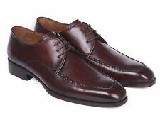 Paul Parkman Brown Bordeaux Leather Apron Derby Shoes Men New Calfskin Handmade