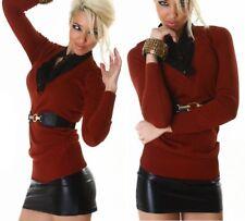 SEXY Damen Bluse Strick Pulli V Pullover Gürtel S/M 34/36 M/L 36/38 Woodland