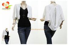 W Boho Ruffle Lace Pouch Back Knit Shawl Sweater Cardigan Blouse Shirt Top S M L