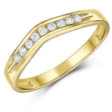 9ct Anillo Oro Amarillo Espoleta Diamante Juego Boda 3mm Anillo Cinta