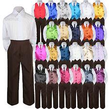 23 Color 4 Pieces Brown Vest set Necktie Boy Baby Toddler Formal Tuxedo Suit S-7