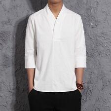 oomo Cotone Camicia di lino rosso fuoco VINTAGE MANICA 3/4 Maglia stile etnico