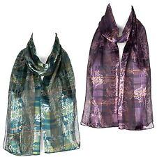 Chiffon Satin Ladies Womens Flower Pattern Scarf Shawl Wrap