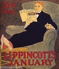 MAN ON SOFA READING MAGAZINE LIPPINCOTT'S JANUARY 30TH YEAR VINTAGE POSTER REPRO