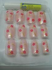 Faux ongles rose fleur rouge