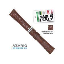 Cinturino Moro vera Pelle stampa cocco semi imbottito Leather straps Dark Brown