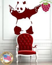Wall Sticker Vinyl Decal Animal Panda Bear Gangster Guns Funny z755 .