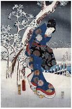 Japanese POSTER.Stylish Graphics.Winter Geisha.Asian art.House Room Decor150i