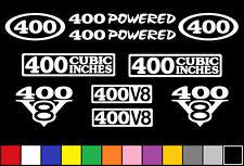 400 CI V8 POWERED 10 DECAL SET ENGINE STICKERS EMBLEMS VINYL SBC DECALS