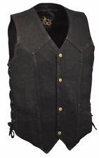 Men's Black or Blue Denim Side Lace Biker Vest w/ Classic Snap Front for Design