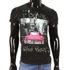 T-shirt UOMO NERO XL maglietta fantasia I love car Rosa Manica Corta SLIM FIT NY