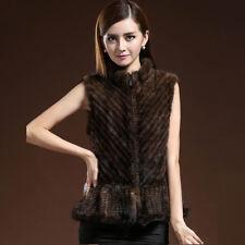 UK Womens Hand Knit Mink Fur Vest Striped Waistcoat Gilet Sleeveless Jacket Coat