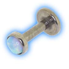 Titanium Internally Threaded Labret White Opal Disc Choose Ti colour 1.2mm 16g