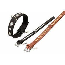KARLIE BUFFALO LEATHER DECO DOG COLLAR SMALL XL BLACK RED BROWN 30, 35, 40,65 CM