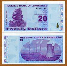 Zimbabwe, $20, 2009, P-95, AA-prefix, UNC