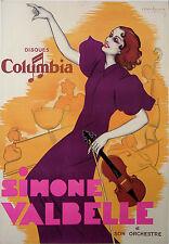 VAN CAULAERT AFFICHE ANCIENNE SIMONE VALBELLE DISQUES COLUMBIA  1930 - 1940