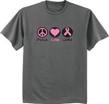Peace Love Cure Breast Cancer Awareness t-shirt pink ribbon t-shirt men's tee
