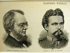 Portraits EDWIN WHIPPLE LUDWIG II BAVARIA J. WREY MOULD 1886 Antique Art Matted