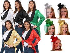 LADIES SEQUIN TAILCOAT AND MINI GLITTER TOP HAT CABARET FANCY DRESS COSTUME