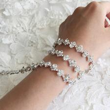 Rhinestone Diamante Wavy Chain Trim Wedding Dress Belt Bridal Beaded Applique