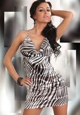 SEXY CLUBWEAR HALTERNECK MINI PARTY DRESS 14-16 SNAKESKIN LOOK IN BLACK & SILVER