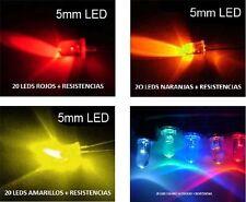 20 LED AZUL 5MM 10000MC + RESISTENCIAS NARANJA ROJO AMARILLO  KITS A ESCOGER